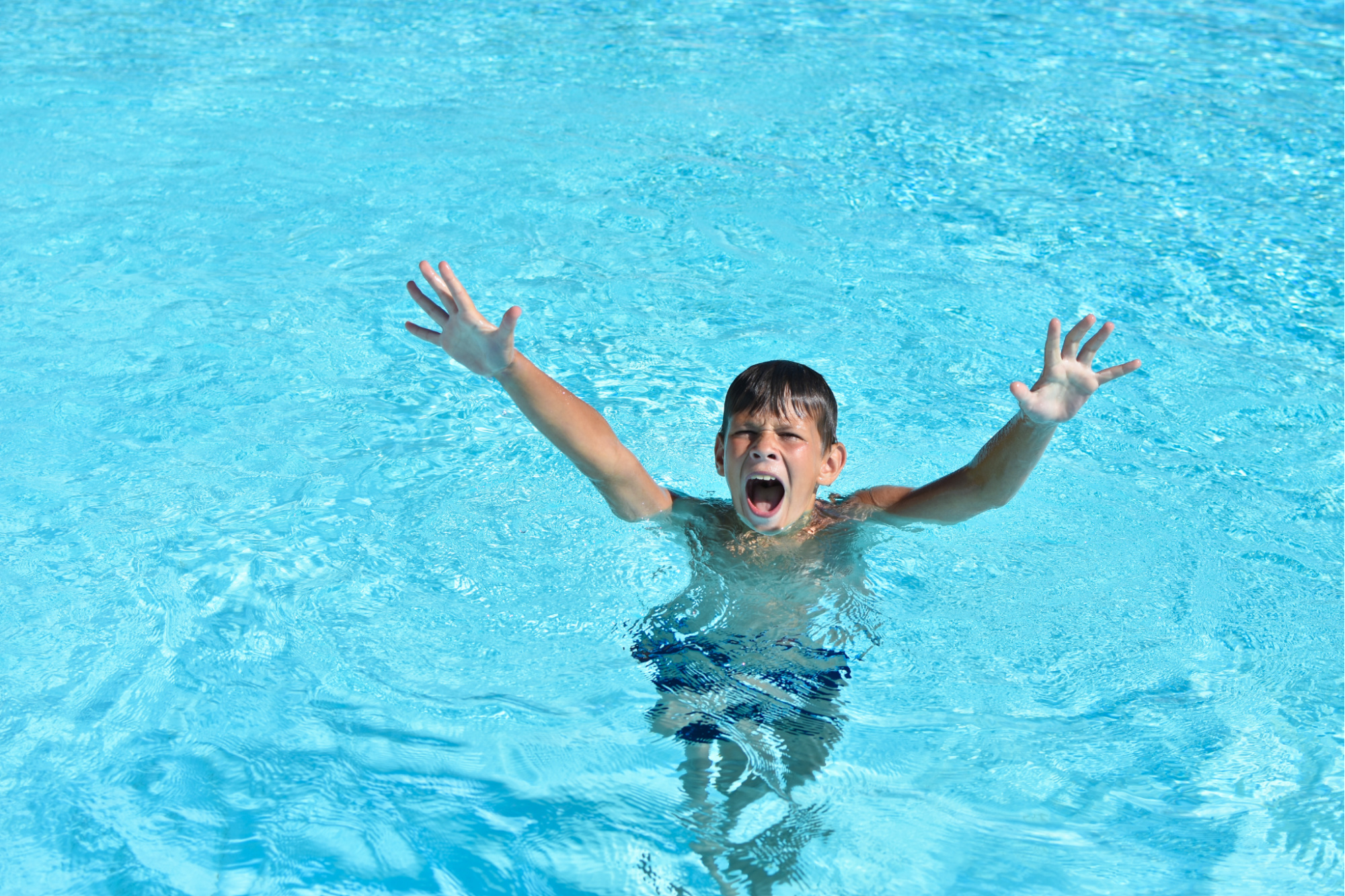 Boy drowns in the water in the pool or the sea and calls for help