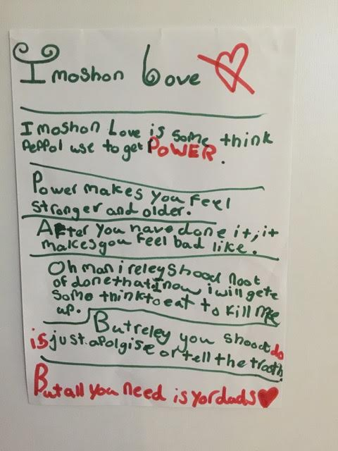 Hand written explanation of Imitation love by a child.