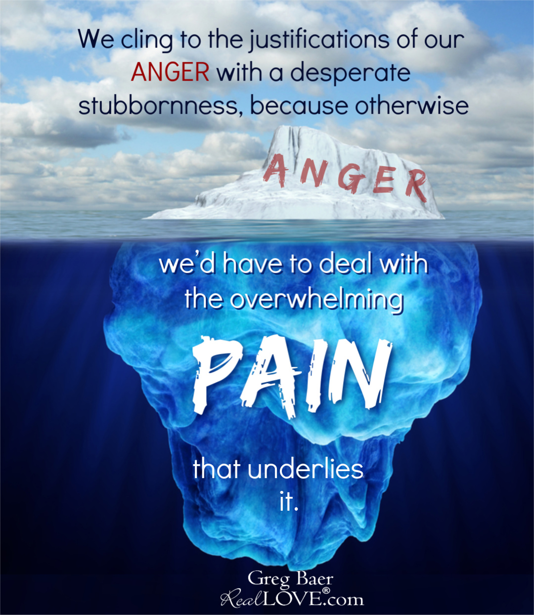 Concept art showing iceberg demonstrating pain is greater than anger.
